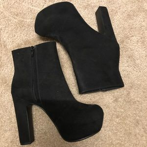 Black high heel boot